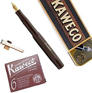 Kaweco CLASSIC Sport Fountain Pen LIMITED EDITION Chocolate Brown, Fine Nib with Kaweco Sport Octagonal Clip Gold and Kaweco Fountain Pen Ink Cartridges short, Caramel Brown (Brown), Pack of 6