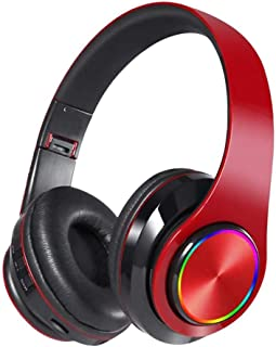 5.0 Wireless Bluetooth Headset,Comfortable Surround Stereo HiFi pro Gaming Noise Cancelling Folding Headphones on Ear for Game Sports (Red)