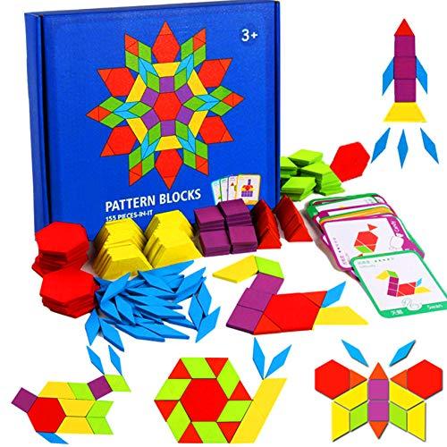 155 Pcs Wooden Pattern Blocks Set - Geometric Shape Puzzle Kindergarten Classic STEM Educational Montessori Tangram Toys with 24 Pcs Design Cards for Kids Boys Girls Ages Over 36 Months