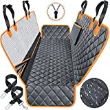 URPOWER Dog Seat Covers with Detachable Mesh Visual Window 100% Waterproof Dog Car Seat Cover Nonslip Pet Bench Seat Cover with Storage Pockets, Washable Dog Hammock for Cars Trucks and SUVs
