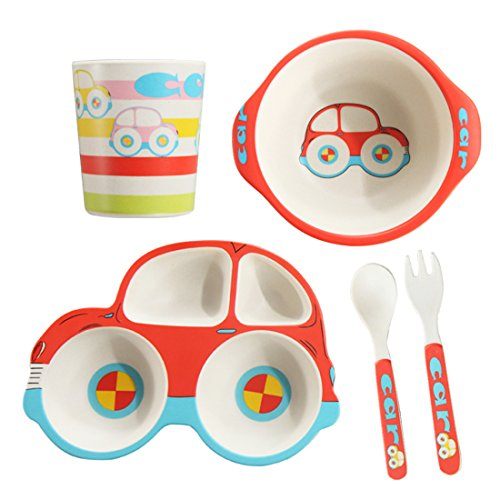5 Piece Bamboo Dinnerware for Kids, Toddler, Car Plate and Bowl Set, Eco Friendly and Dishwasher Safe, Great Gift for Birthday, Baby Shower