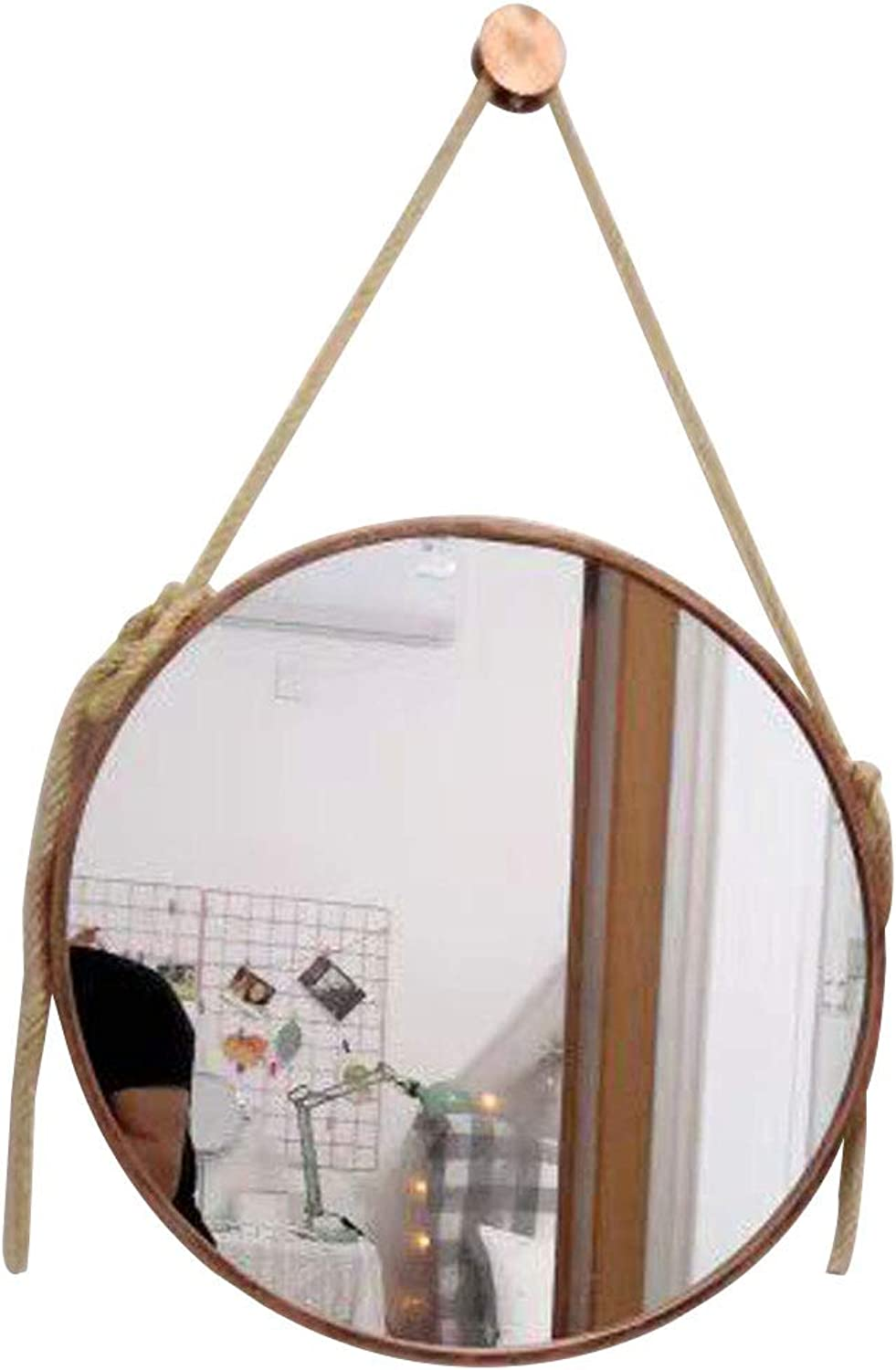 Round Wall Mirror Decorative Mirror Antique Metal Frame Wall Hanging Mirror Ldeal for Bathroom Living Room Hallway - Copper -Diameter 11.8-31.5 Inch