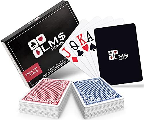 LMS Cartas de Póquer Plásticas con tarjeta de corte incluida - [2 x] juegos de 54 cartas - paquete doble en azul y rojo, impermeable y estable, cartas de juego profesionales en calidad de casino