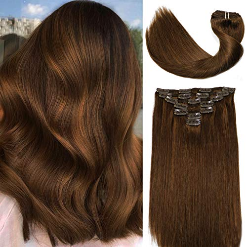 Vario Clip in Human Hair Extensions 22Inch 7pcs 120g Set #4 New Version Thickened Chocolate Brown Silky Straight 100% Real Remy Human Hair Extensions