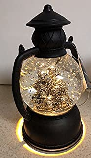 Halloween 8 inch lighted stack of silver skulls Scary Lantern Water Globe floating silver glitter snow Day of the Dead Decoration