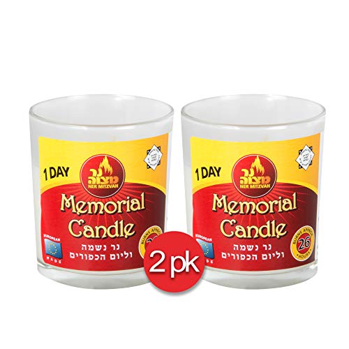 1 Day Yahrtzeit Candle - 2 Pack - 24 Hour Kosher Memorial and Yom Kippur Candle in Glass Jar - by Ner Mitzvah