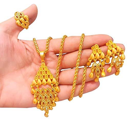 COSYOO 3PCS Water Drop Gold Plated Jewelry Set Ethnic Jewelry Set Fashion Teardrop Dangle Earrings