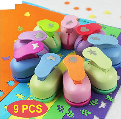 9 PCS Mini Paper Punches Sets Christmas Tree Snowflake and Circle Craft Hole Puncher Shape DIY Scrapbook Paper Cards Art Cutter Tool