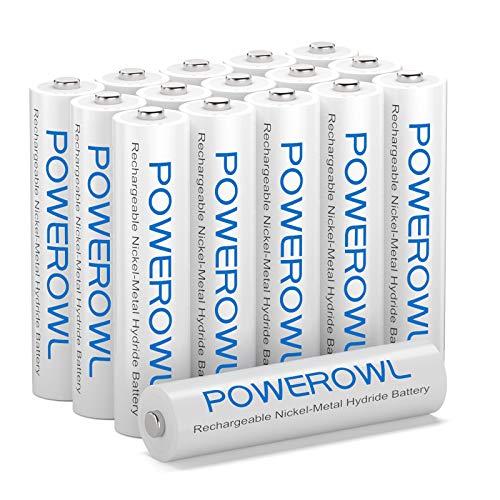 Akku AAA POWEROWL AAA Akkus NI-MH AAA Batterien Wiederaufladbare Aufladbare Batterie Akkubatterien (Geringe Selbstentladung,1000mAh) 16 Stück