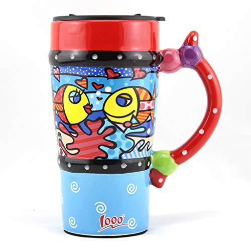 LRW Geschilderde Mokken Persoonlijkheid Creatieve Grote Capaciteit Cups Paar Bekers Keramische Bekers Met Deksels En Lepels Vis