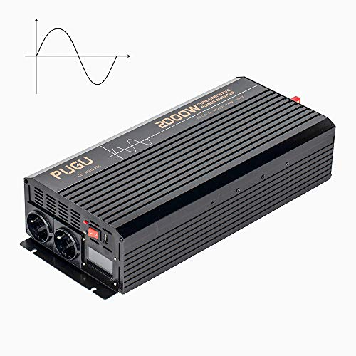 SSCYHT Inversor De Onda Sinusoidal Pura De 2000W, 12V / 24V DC A 110V / 220V AC, Inversor De Energía RV para Automóvil con 2 Salidas De AC Y 1 Puerto USB, Convertidor De Batería De Energía,DC 24v