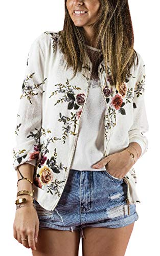 ECOWISH Damen Casual Jacke Blumenmuster Langarm Bomberjacke Reißverschluss Stehkragen Outwear Kurz Coat Herbst Frühling Weiß M