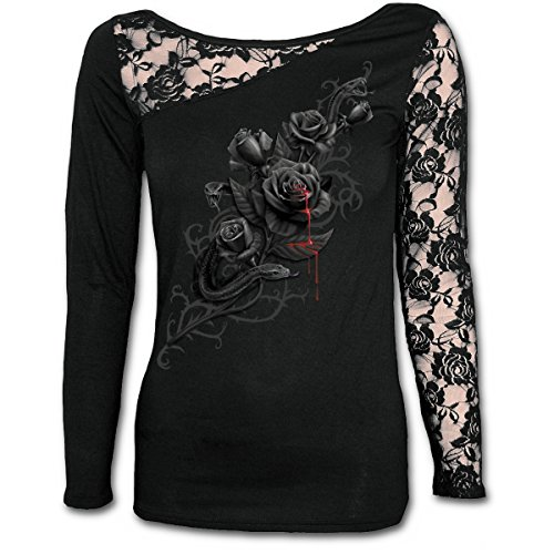 Spiral Direct Damen Fatal Attraction-Lace One Shoulder Top Langarmshirt| Schwarz (Black 001)| 50 (Herstellergröße: XX-Large) | Bekleidung > Tops > One Shoulder-Tops | Spiral Direct