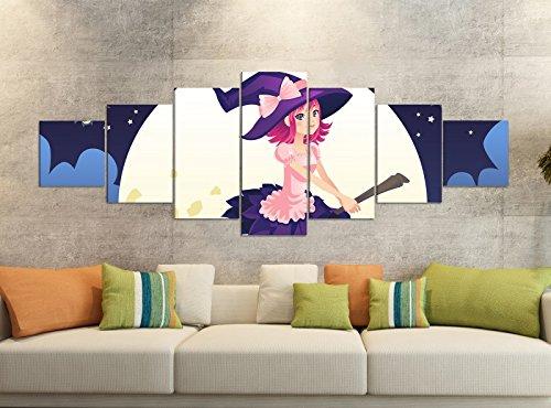 Canvas foto's 7-delig 280x100cm kinderkamer cartoon heks bezem vleermuis maan canvas afbeelding delen delen kunstdruk druk vlies muurschildering meerdelig 9YB1634 ca. 280cmx100cm