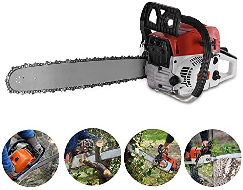 JOSHUA Powerful 2.984KW, 52CC Electric Chainsaw, 20-Inch Guide Bar and Chain, 4.0HP Gas Powered Wood Cutting Chain Saw, Electric Saw to Cut Wood, Automatic Chain Lubrication, Power Saw, Red