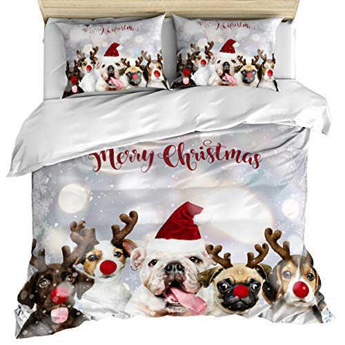 3 Piece Bedding Set Comforter/Quilt Cover Set Queen Size, French Bulldog Wear Elk Antler and Christmas Hat Illustration Snowflake Dreamlike Duvet Cover Set with 2 Pillow Shams for Kids/Adults/Toddler