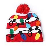 Dasongff Weihnachten LED Mütze Hüte Partyhut Leuchtende Strickmütze Baby Kinder Erwachsene Weihnachtsmütze Wintermütze Xmas Winter Schnee Hut Funny S/M