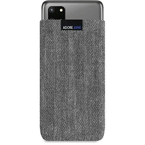 Adore June Business Tasche kompatibel mit Samsung Galaxy S20 Plus Handytasche aus charakteristischem Fischgrat Stoff - Grau/Schwarz, Schutztasche Zubehör mit Bildschirm Reinigungs-Effekt
