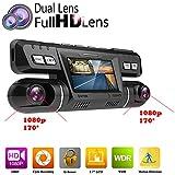 PolarLander WiFi Car DVR Video Vehículo Dash Camera Recorder Novatek 96660 Dashcam Dual Lente Full HD 1080P 170 Degree Tablero Negro con Logger GPS