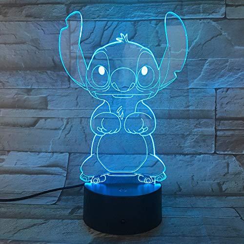 Cartoon Stich Lampada 3D per camera da letto, tavolo, luce notturna, pannello in acrilico, cavo USB, 7 colori, Touch Basis lampada per bambini, regalo per bambini, 7 colori diversi