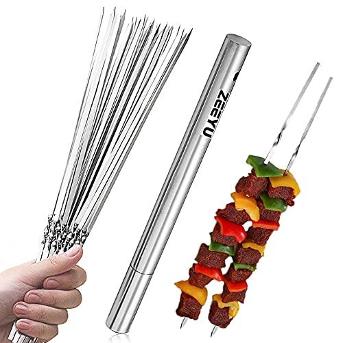 ZEEYU Skewers for Grilling, 14 inch Metal Kabob Skewers with Portable Storage Tube Stainless Steel BBQ Skewers for Meat Shrimp Chicken Vegetable Shish Kebab, 20 Pack