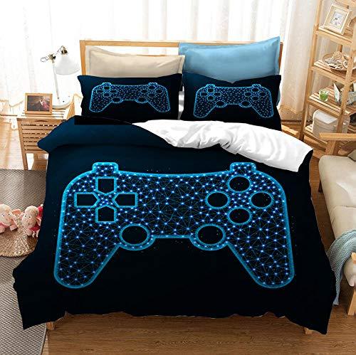 ZPYHJS Juego de Cama con Funda nórdica Gamepad 3D, Consola de Videojuegos para niños y Adolescentes, Funda nórdica Suave y cómoda, Ropa de Cama, Textiles para el hogar-E_150x200cm (2pcs)