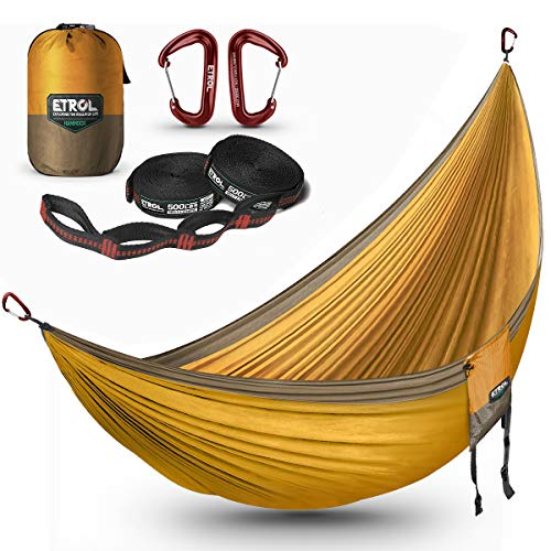 ETROL Hammock Camping Double LightweightParachute Portable Hammocksfor Travel, Indoor, Outdoor Backpacking, Beach Includes Tree Straps and Aluminum Alloy Carabiners