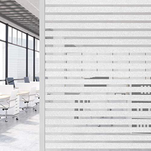 Yaheetech raamfolie privacy film statische melkglasfolie zelfklevend gestreepte folie voor kantoor uit PVC, 150 x 45 cm
