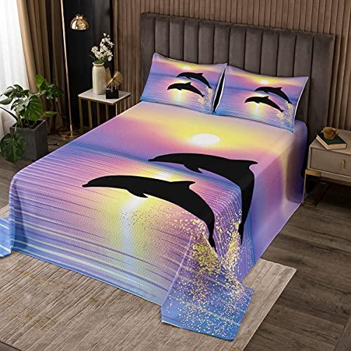 Delfin-Tagesdecke für Kinder, Queen-Size-Größe, Ocean Marine Life Quilt-Set für Jungen, Mädchen, Kinder, Teenager, luxuriöses lila Sonnenuntergang-Deckenset mit 2 Kissenbezügen