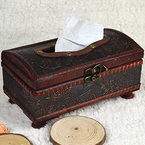 XUSHEN-HU Caja de pañuelos de papel para el hogar, 21 x 12 x 11 cm, elegante, hecha a mano, de madera, antigua, hecha a mano, caja de pañuelos antigua, para uso diario, dispensador retro