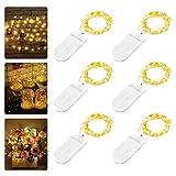 6 Stück LED Lichterkette Batterie, Nasharia 2M 20er LED Kupfer Drahtlichterkette Lichterkette...