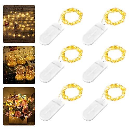 Led-lichtsnoer, 6 stuks, batterijen, 2 m, 20 leds, koperen draadlichtsnoer, werkt op batterijen, IP65 waterbestendig, Fairy Light voor feestjes, tuin, Kerstmis, bruiloft, warmwit