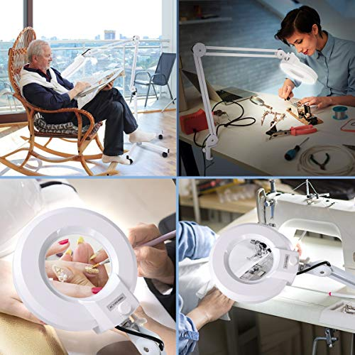 Magnifying Floor lamp with 5 Wheels Rolling Base for Estheticians - 1,500 Lumens LED Dimmable Light with Magnifying Glass, 8-Diopter Lighted Magnifier for Reading, Crafts, Sewing, Close Work(5X)