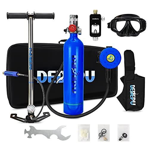 XSGDMN 1L Tauchflasche Mini-Sauerstoff-Lufttank Tauchen Beatmungsgerät Unterstützung 15-20 Minuten Atmung mit Nachfülladapter Schnorchel-Atemgeräte für Tauchausflüge