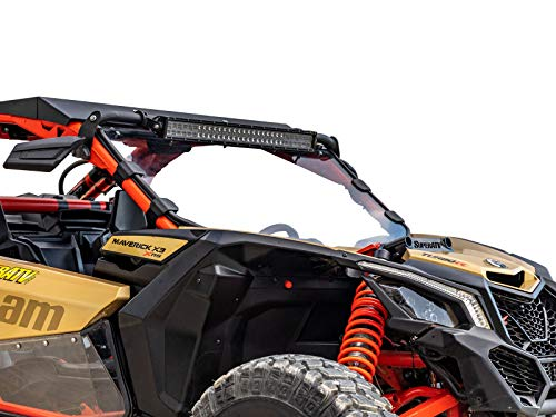 SuperATV Heavy Duty Clear Full Windshield for Can-Am Maverick X3 900 / Turbo/X RC/X RS/X DS/X MR/MAX (2017+) - Clear Standard Polycarbonate