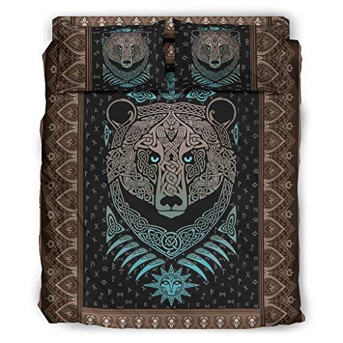 Haythan Juego de cama de oso vikingo, 4 piezas, color blanco, 175 x 218 cm