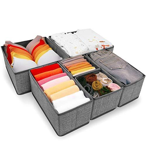 Criusia Underwear Drawer Organizer 6 Set Foldable Underwear Drawer Organizer and Closet DividersStorage Box for Clothes Socks Underwear 6 Bins Gray