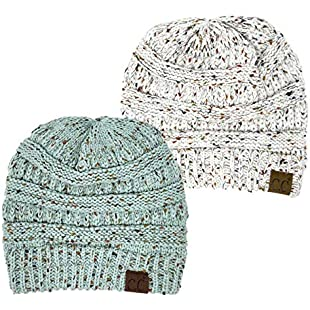 Funky Junque H-6033-2-2554 Confetti Knit Beanie Bundle - 1 Ivory, 1 Mint (2 Pack)