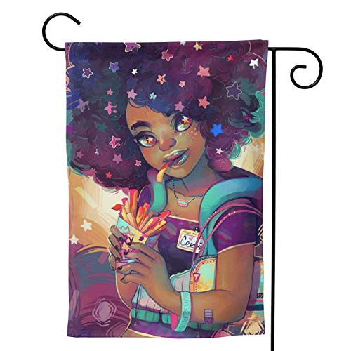 XJ-JX Bandera de doble cara para jardín con diseño de chica africana, diseño de estrellas de pelo grande, de 71 x 101 cm.