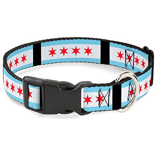 Buckle-Down Plastic Clip Collar - Chicago Flags/Black - 1' Wide - Fits 15-26' Neck - Large