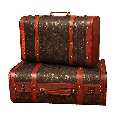 yaunli Caja de Madera Decorativa Retro Maleta a Prueba de Polvo Caja de Almacenamiento Caja del Tesoro Decorativo de Madera de la Vendimia 2pcs Caja de Madera Decorada a Mano Vintage