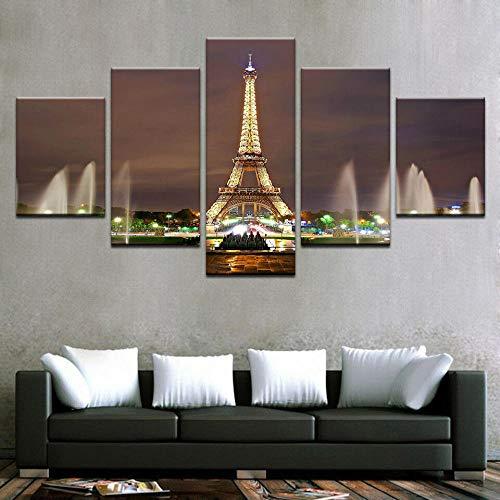 Canvas Wall Art Torre Eiffel Fuente Trocadero Paisaje París 5 piezas de lienzo Foto Regalo Moderno Decoración Decorativo para Tu Salón o Dormitorio Mural Hd Con Marco