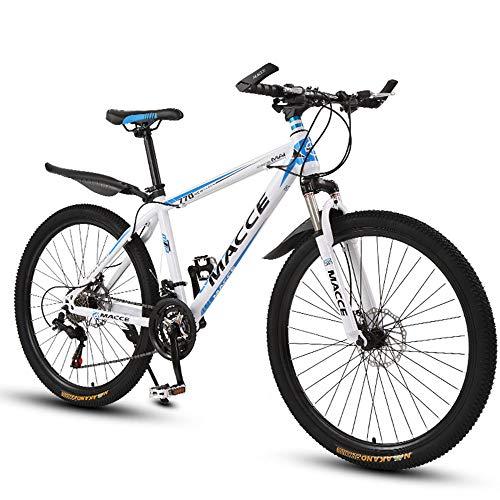 26 Zoll Mountainbike, Scheibenbremsen Hardtail MTB, Trekkingrad Herren Bike Mädchen-Fahrrad, Vollfederung Mountain Bike, 27 Speed,Weiß,Spoke wheel