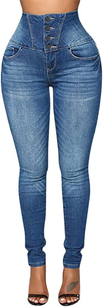 Women's Denim Jeans Autumn Casual Elastic Button Plus Loose Pocket High Waist Small Feet Cropped Jeans