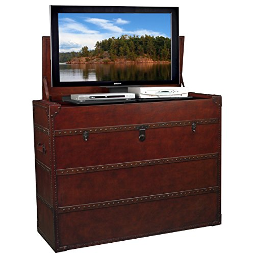 """Leather Steamer Truck Style TV Lift Cabinet for 32-47"""" TVs (AT006197)"""