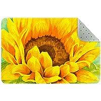 エリアラグ軽量 明るい黄色とオレンジ色の花 フロアマットソフトカーペットチホームリビングダイニングルームベッドルーム
