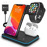 Wireless Charger, TPLISAK 3 in 1 Qi-Certified 15W Fast Charging Station for Apple iWatch SE/6/5/4/3/2/1,AirPods, Charging Stand for for iPhone 12/11 Series/XS MAX/XR/XS/X/8/8 Plus(with QC3.0 Adapter)