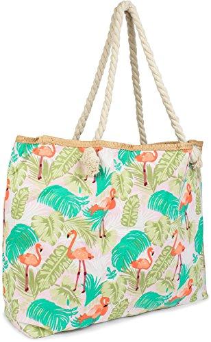 styleBREAKER Bolso para la Playa XXL con Estampado de flamencos y Palmeras y Cremallera, Bolso de Hombro, Bolso para Compras, Mujer 02012247, Color:Rosa-Naranja-Verde