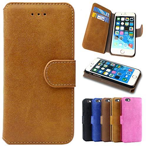 Handy Hülle für HTC One M8, Handyhülle Flip Case Tasche Schutzhülle für HTC One M8, Klapphülle mit Kartenfach - Braun (Natur)