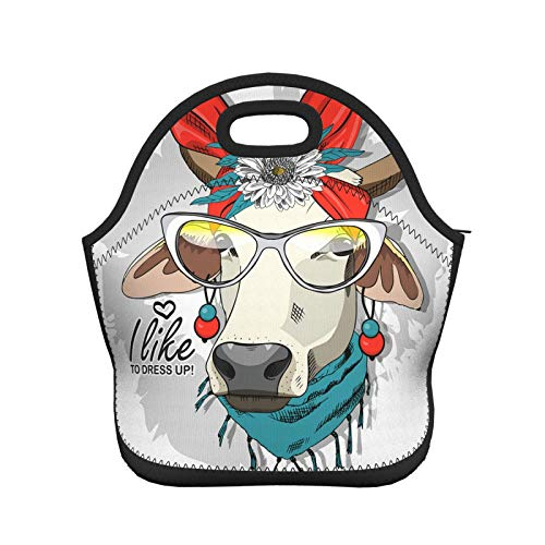 Wozukia Cow Neoprene Lunch Bag With Earrings Red Red Turban Bow Necklace And Glasses I Like To Dressed Up Quote Lunch Box/Lunch Tote/Picnic Bags Insulated Cooler Travel Organizer